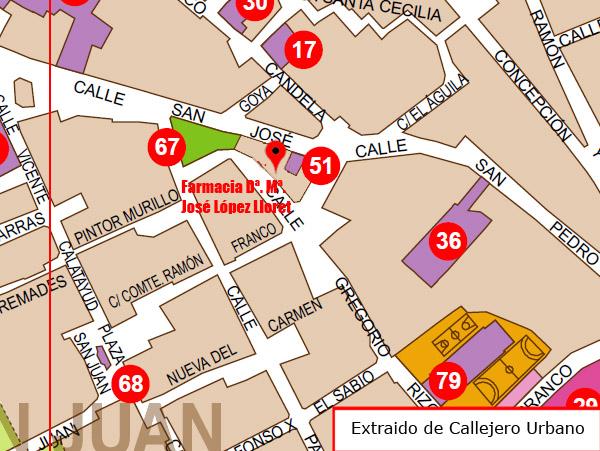 Foto de la ubicación de la Farmacia de Dª. Mª. José López Lloret