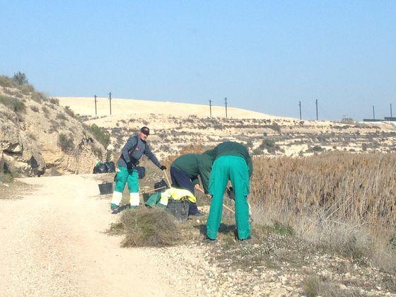 Operarios realizando la limpieza